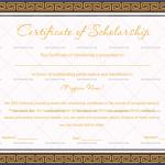 Certificate of Scholarship Template (Border, Blank Design)