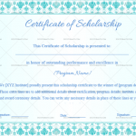 Certificate of Scholarship Template (Floral, Printable in Word)