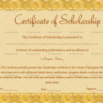 Certificate of Scholarship Template (Golden, Customize in Word)