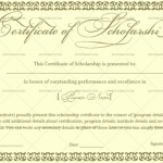 Certificate of Scholarship Template (Jade Green, Printable Blank Certificate of Scholarship)
