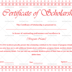 Certificate of Scholarship Template (Pink, Blank Design)