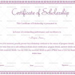 Certificate of Scholarship Template (Purple, Fillable Template)