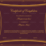 Completion Certificate (Burgundy, Fillable Template)