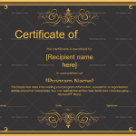 Completion Certificate (Gold Black, Printable in Word)