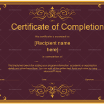 Completion Certificate (Royal red, Blank Design)