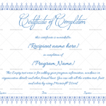 Completion Certificate Template (Blue, Fillable Template)