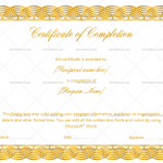 Completion Certificate Template (Golden, Customize in Word)