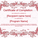 Completion Certificate Template (Pink, Certificate of training completion)