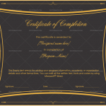 Completion Certificate Template (Royal Black, Blank Design)