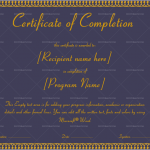 Completion Certificate Template (Royal Blue, Printable and Editable)