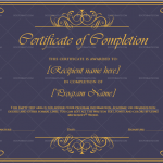 Completion Certificate Template  (Royal Gold, Printable and Editable)