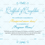 Completion Certificate Template (Sky Blue, Certificate of completion construction)
