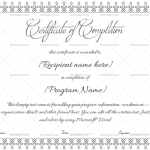 Completion Certificate Template (White, Printable in Word)