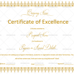 Excellence Certificate Temlate (White, Printable in Word)