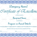 Excellence Certificate Template (Blue, Blank Design)