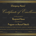 Excellence Certificate Template (Border, Editable Certificate)
