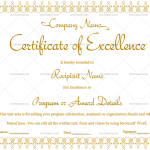 Excellence Certificate Template (Brown, Fillable Template)