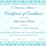 Excellence Certificate Template (Floral, Editable Certificate)