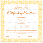 Excellence Certificate Template (Gold, Printable Certificate of Excellence)