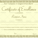 Excellence Certificate Template (Jade Green, Fillable Template)