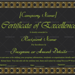 Excellence Certificate Template (Jet Black, Blank Design)