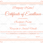 Excellence Certificate Template (Pretty, Printable and Editable)