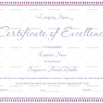 Excellence Certificate Template (Purple, Printable and Editable)