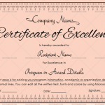 Excellence Certificate Template (Rose Pink, Printable Blank Excellence Certificate)