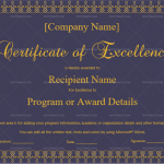 Excellence Certificate Template (Royal, Printable and Editable)