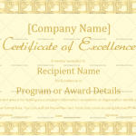 Excellence Certificate Template (Skin, Customize in Word)