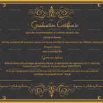 Graduation Certificate Template (Black, Editable Certificate)