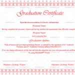 Graduation Certificate Template (Pink, Fillable Template)