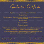 Graduation Certificate Template (Royal, Printable in Word)