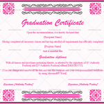 Graduation Certificate Template (Shocking Pink, Printable and Editable)