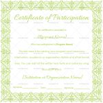Participation Certificate Template (Green, Printable and Editable)