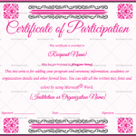 Participation Certificate Template (Shocking Pink, Printable and Editable)