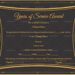 Years of Service Award Certificate Template (Jet Black, Printable and Editable