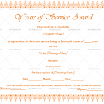 Years of Service Award Certificate Template (Orange, Printable Blank Years of Service Award)