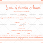 Years of Service Award Certificate Template (Pink, Editable Certificate)