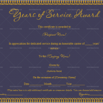 Years of Service Award Certificate Template (Royal, Fillable Template)