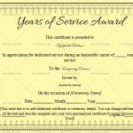 Years of Service Award Certificate Template (Skin, Blank Design)