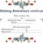 Wedding Anniversary Certificates (Floral, Blank Template)