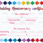 Wedding Anniversary Certificates (Multicolored, decorative marriage certificate)
