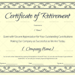 Blank Certificate of Retirement (#928) Blue