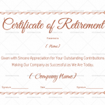 Blank Certificate of Retirement Template (Red) (#925)