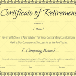 Blank Retirement Certificate for Microsoft Word (#923)