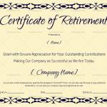 Certificate of Retirement (#927) – Blue (Sample)