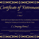 Certificate of Retirement (#927) – Gold Design