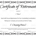 Certificate of Retirement (#927) for army, navy, teacher or any use