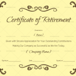 Certificate of Retirement Sample Wording (Brown) (#925)